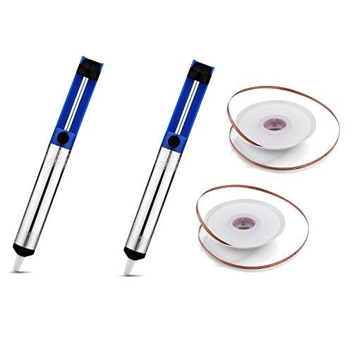 EVERMARKETTM Desoldering Wick solder braid with 25mm Width 15m Length and Solder Sucker Desoldering Vacuum Pump Solder Removal ToolBlue - 2 Packs