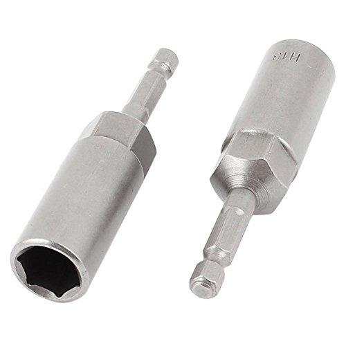 TOOGOOR 80mmx13mm Metal Screwdriver Drill Hex Nut Driver Socket Bit 2 PCS Gray