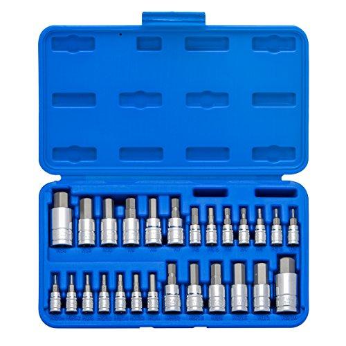 Neiko 01144A Tamper-Proof Hex Bit Socket Set 26 Pieces  SAE 564-916 Metric 2-14MM
