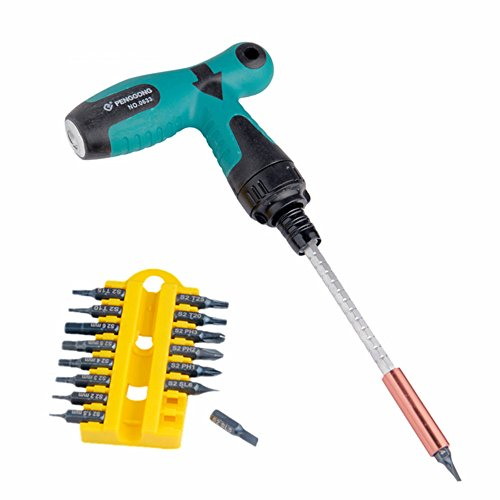 17pcs T GripType Handle Ratchet Screwdriver Set Star-head Flat-head Nut Drivers Hex socket wrench  angle wrenches S2 Bit Multifunction Hand Tool Sets