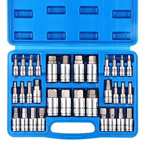 CASOMAN 32 Piece Master Hex Bit Socket Set S2 Steel SAE And Metric Allen Socket Bit 564-inch to 34-inch 2mm to 19mm Socket Tool Kit