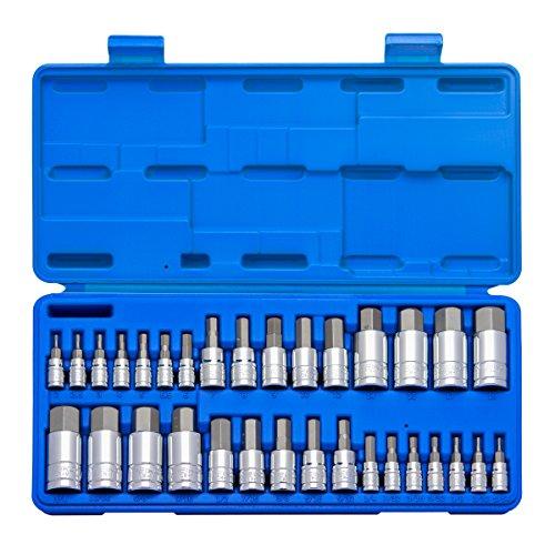 Neiko 10288A Master Hex Bit Socket Set 32 Piece  S2 Steel Machined Bits  Standard SAE and Metric Sized Sockets  14 38 12 Drives
