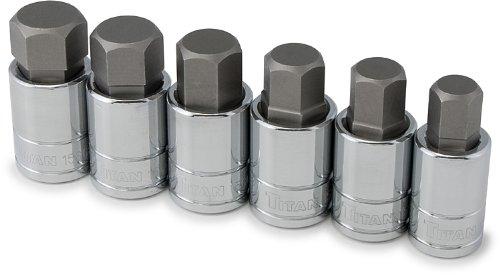 Titan Tools 16156 12-Inch Drive 6-Piece SAE Large Hex Bit Socket Set