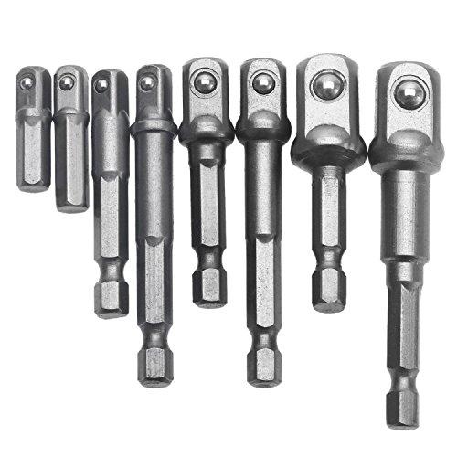 8Pcs CR-V Impact Socket AdapterExtension Set Hex Shank Drill Bits Set 14 38 12 Bits Nut Driver by Jelbo