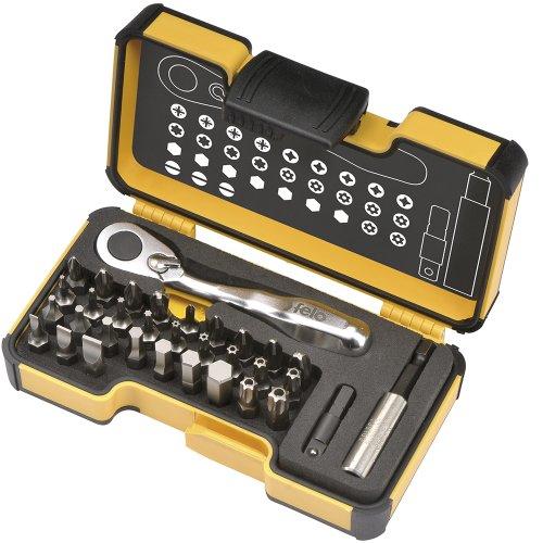 Felo 0715761545 XS Box Set includes Mini Ratchet 14 Adaptor Bitholder 30 Bits 33 Piece