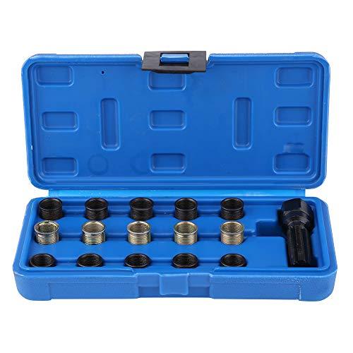Qiilu 16 PCS Professional Spark Plug Repair Kit 14mm x 125 M16 Screw Tap and Screw Thread Tool Set for Automotive Engine Repair with Case