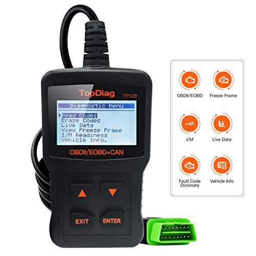 TopDiag Car Code Reader Engine Scan Tool Universal Automotive Diagnostic Tools TP-109 Auto Scanner Suitable for OBD2 ProtocolStandard 16-pin EOBDCAN Vehicles