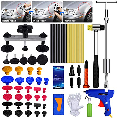 AUTOPDR Dent Repair Tools 2 in 1 T-Puller Big Dent Paintless Dent Repair Kits 69pcs Dent Repair Tool - Dent Repair kit with Bridge Dent Puller Small-Middle Dentfor Car Body Hail Dent Removal Dent