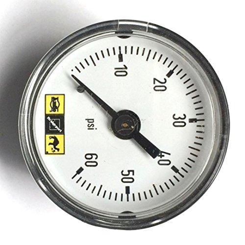Amflo 1101-60 15 Inch Diameter 0-160 Psi Dial Type Air Line Pressure Gauge - 18-27 Back Mount Dial Gauge 1 Pack