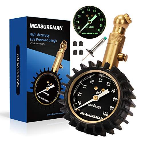 Measureman 2 Dial Tire Pressure Gauge Tire Tread Depth Gauge Test Kit - 100 PSI Pressure Hold and Release 360 Degree Swivel Glow-in-Dark Reading