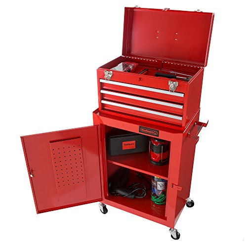 Rolling Tool Box Cabinet 3 Drawer Portable Storage Chest Tools and Garage Organizer With Wheels and Sliding Drawers By Stalwart Red