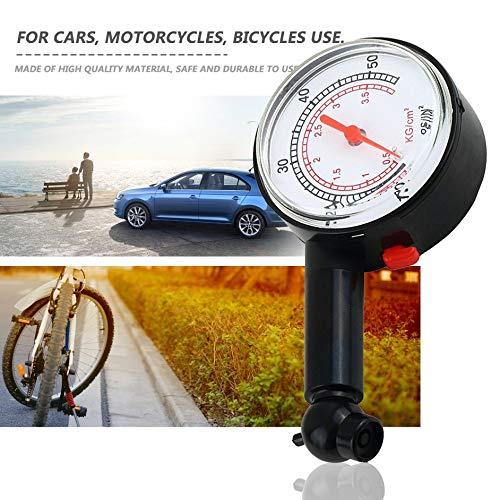 Car Vehicle Motorcycle Bicycle Dial Tire Gauge Meter Pressure Truck Motorcycle Bicycle Tyre Measurement Tool-Black