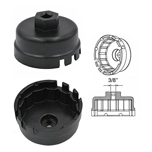 Carrep 64mm Oil Filter Cap Wrench for Toyota Camry Corolla Highlander RAV4 Lexus Scion Removal Tool Black