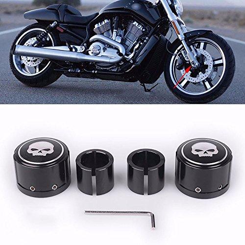 Frenshion Compatible for 2pcs Black Skull Front Axle Nut Cover Cap CNC Aluminum Rear Axle Nut Covers Bolt Kit For Harley Davidson VRSC XG