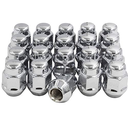 Set of 20 Lug Nut Closed End Bulge Acorn Lug Nuts 138 Long - Cone Seat - 21mm 1316 Hex Wheel Lug Nut Chrome M12 x 125