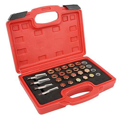 KIMISS 24pcsSet Thread Repair Kit Automotive Oil Pan Drain Plug Thread Repair Kit Tool M13 M15 M17 M20
