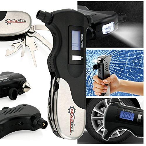 Oct17 Digital Tire Air Pressure Gauge Car Bicycle Monitor LCD 9-in-1 Emergency Survival Repair Multi-Function Tool Kit Safety Hammer Flashlight Seatbelt Cutter