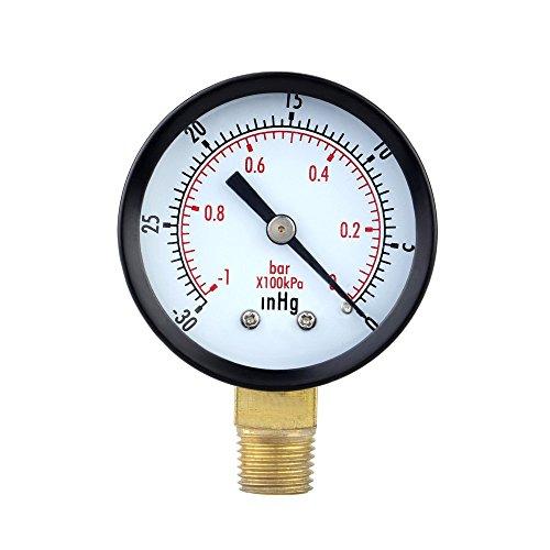 Pressure Gauge - SODIALRPressure Gauge - 0 ~ -30inHg 0 ~ -1 bar Mini Dial Air Pressure Gauge Barometer meters Vacuum gauge dual scale dial Black