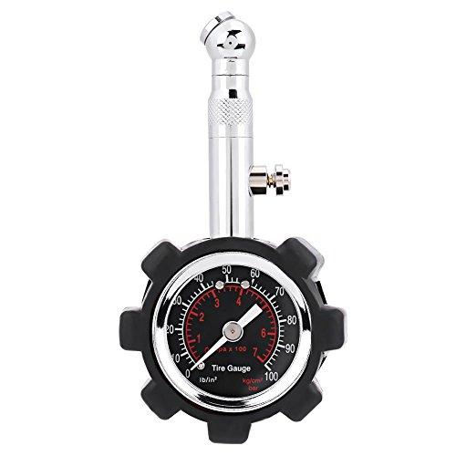 Qiilu Manual Hand 0-100PSI Tire Air Pressure Gauge Meter Tester for Car Truck Motorcycle Bike
