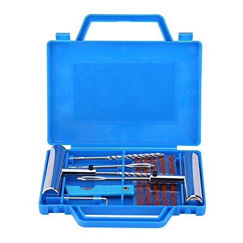 Qiilu 7pcs Tire Diagnostic Repair Kit Tubeless Wheel Tire Puncture Mending Tool Set for Car Motorbike
