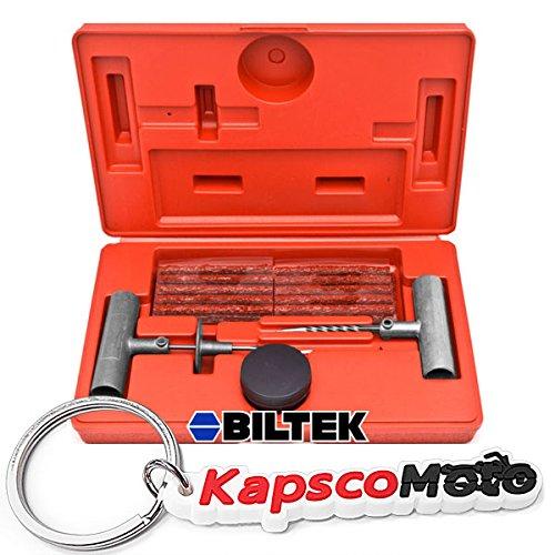 Biltek 36 Pc Tire Repair Tool Kit Case Plug Patching Tubeless Tires Insert Spiral Hex  KapscoMoto Keychain