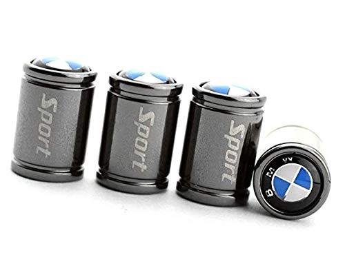 MirosCar Valve Stem Caps Zinc Alloy Plating Chrome Tire Valve Stem Valve Caps for BMW Set of 4 -(Black)