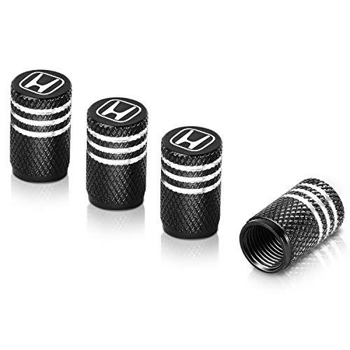 Qideloon Tire Valve CapsAluminum Valve Stem Caps Compatible with Honda Accessories CarTrucksMotorbike 4pcs Black