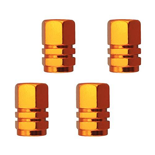 Abfer Tire Air Valve Stem Cap Aluminum Alloy Car Wheel Pressure Caps Cover Screw Shape Fit Most Vehicle Truck Motorcycles Bikes Orange