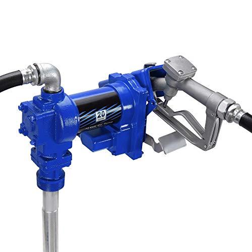 ARKSEN Fuel Transfer Pump 12 Volt 20 GPM Diesel Gas Gasoline Kerosene Car Tractor Truck Discharge Hose Manual Nozzle Suction Pipe