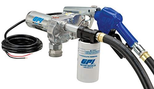 GPI 110612-02 M-180S-AUFilter Fuel Transfer Pump 18 GPM 12V-DC Automatic Nozzle 12 Hose 18 Power Cord