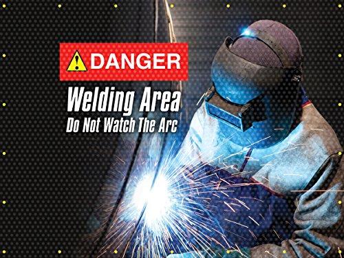 Accuform PWD108RD Translucent Vinyl Welding Screen Danger Welding Area Do Not Watch FrontRed Back 6 x 6
