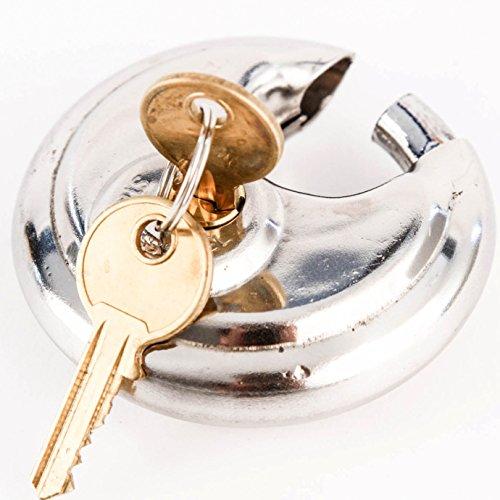 2-34 70mm Stainless Disc Padlock Shackle Trailer Self Storage Single Lock with 2 Keys