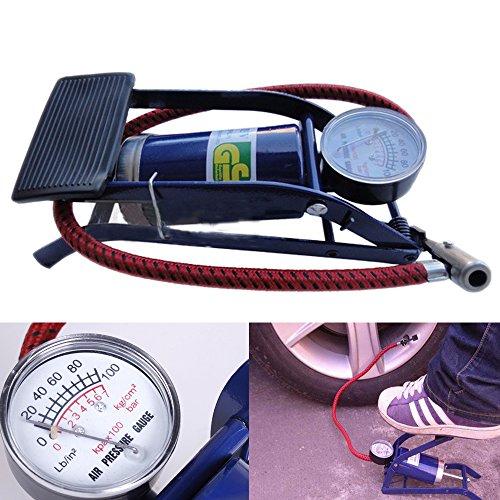 PolarLaner Portable High Pressure Single Barrel Cylinder Air Inflator Foot Pump with Gauge for Car Van Bike Bicycle Tyre