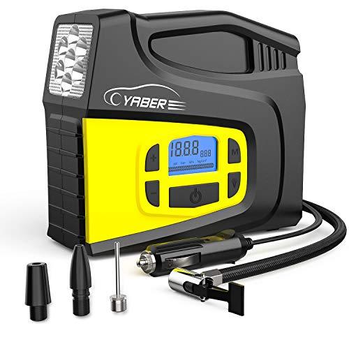 YABER Car Air Compressor12V 150PSI Digital Portable Car Tyre Inflator with LCD Screen LED Lamp and 3 Nozzle Adaptors Air Compressor Pump