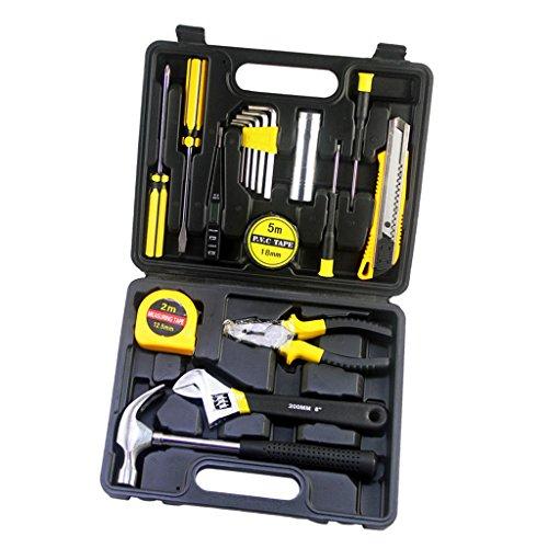 Homyl Hand Tool General Household Hand Tool Kit Hexagon Wrench Hammer Flashlight