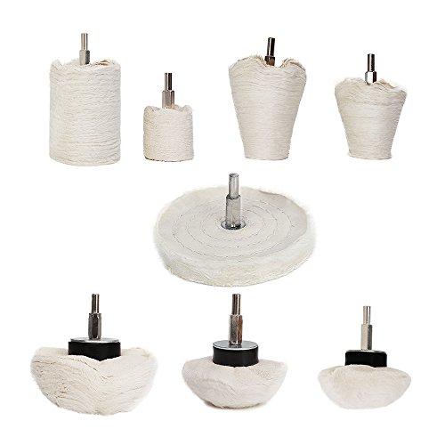 Buffing Polishing Wheel For Drill - 8Pcs White Flannelette Polishing Mop Wheel ConeColumnMushroomT-shaped Wheel Grinding Head With 14 Handle For Manifold  aluminum  stainless steel  chrome etc