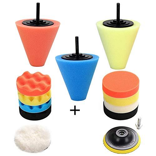 Car Buffers and Polishers Kit for Drill- 3 Pcs Drill Polishing Wheel Foam Ball Buffing Pads Sponge Ball for Automotive Car Wheels Hub Care Metal Plastic Ceramic and Glass