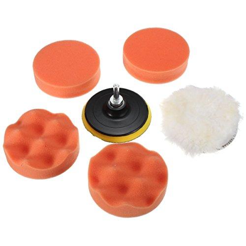 MATCC 6 Pcs 4 Inch Polishing Pads Sponge and Woolen Polishing Waxing Buffing Pad Kit Set with M10 Drill Adapter