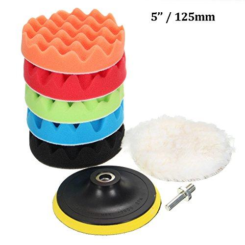 MATCC 7Pcs 5inch Polishing padsSponge and Woolen Polishing Waxing Buffing Pads Kits with M14 Drill Adapter 5inchs