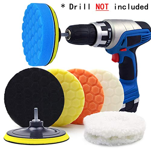 POLIWELL 6 Inch Car Polishing Buffing Sponge Pads Kit Wool Bonnet Pads for Household Electric Drill and Auto Polisher with 8mm M14 Drill Adapter for Washing Cleaning Waxing Dusting 11PCS