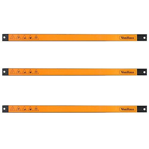 "VonHaus 3 X 24"" Piece Magnetic Tool Holder Strip Racks - Extra Large Organizer Bar Set Ideal for Garage and Workshops"