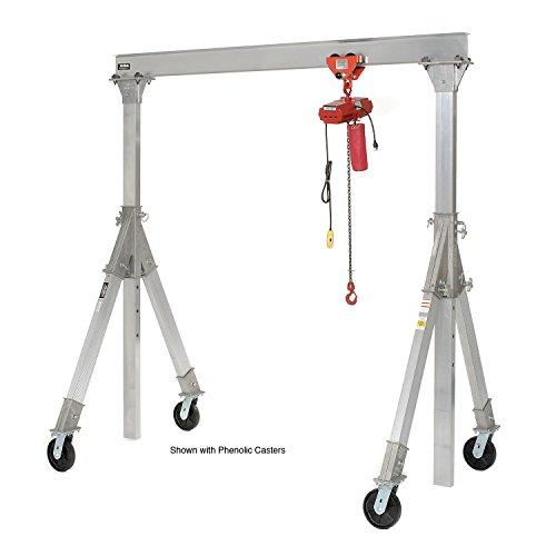 Vestil Aluminum Gantry Crane AHA-15-12-10-PNU Adj Ht 1500 Lb Pneumatic Casters