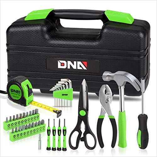 DNA MOTORING Green 39 PCs Portable TooL Kit Household Hand Toolbox General Repair Screwdriver Pliers Hammer Hex