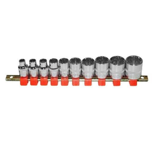 GreatNeck 28614 Metric and SAE 12-Point Spline Socket Set 10-Piece