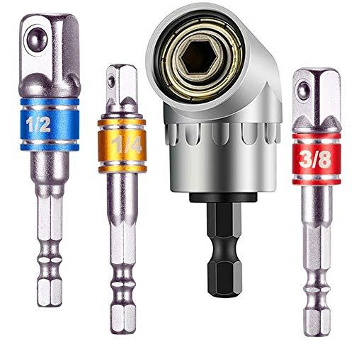 105 Degree Right Angle Driver Extension Screwdriver Drill Attachment 14 Drive Hex Bit3Pcs 14 38 12Hex Shank Impact Grade Socket AdapterExtension Bar Nut Driver Setfor Universal Socket