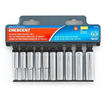 Apex Tool Group CSAS11N 025 in Drive 6 Point Metric Deep Socket Set44 Nickel Chrome - 10 Piece
