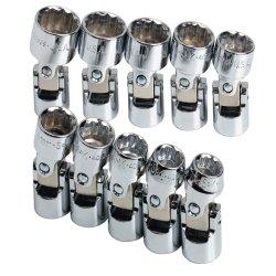 10 Piece 38 Drive 12 Point Metric Flex Socket Set Tools Equipment Hand Tools
