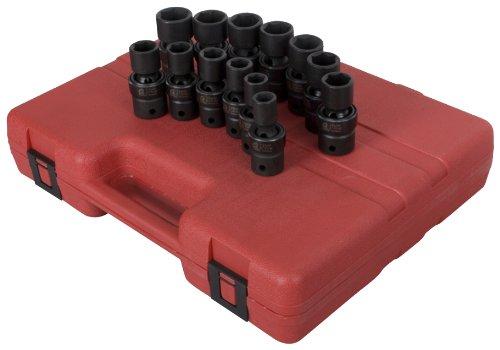 Sunex 2665 12-Inch Drive Metric Universal Impact Socket Set Metric Standard 6-Point Cr-Mo 12mm - 24mm 13-Piece