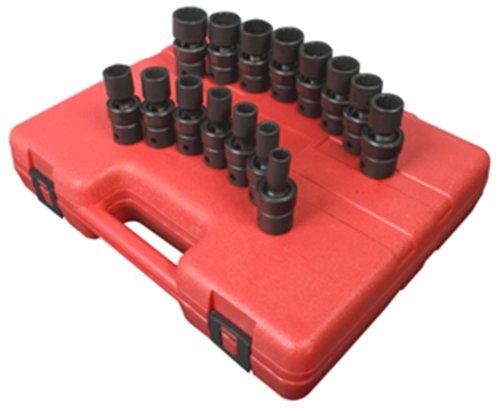 Sunex 2855 12-Inch Drive Universal 12-Point Metric Universal Impact Socket Set 15 Piece
