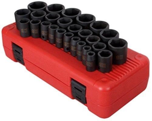 Sunex 2645 12-Inch Drive Impact Socket Set Metric Standard 6-Point Cr-Mo 10mm - 36mm 26-Piece